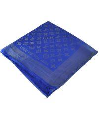 Шаль Louis Vuitton Metal ярко-синяя с серебром