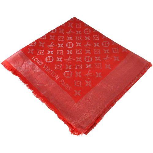 Шаль Louis Vuitton Metal красная с серебром