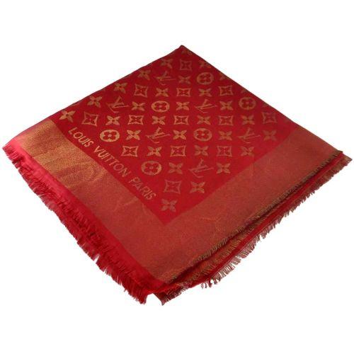Шаль Louis Vuitton Metal красная с золотом