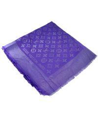 Шаль Louis Vuitton Metal фиолетовая с серебром