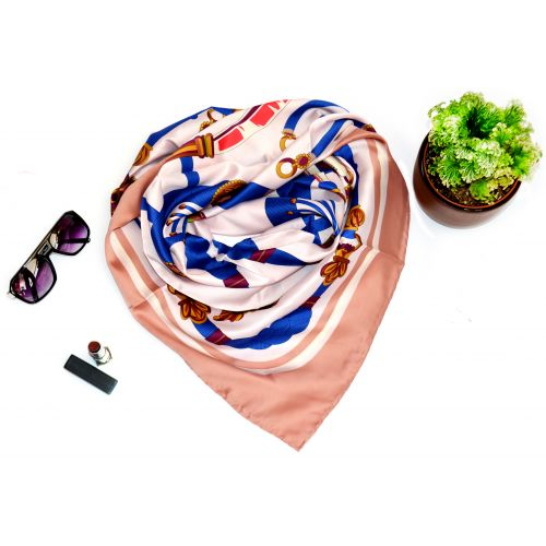 Атласный платок Hermes 21003 пудровый