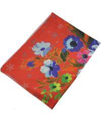 Женский шарф 017442 акварельные цветы оранжевый
