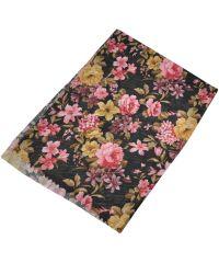 Женский шелковый шарф 017568 дачный букет черный