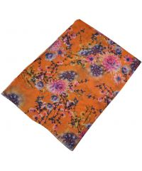 Женский шелковый шарф 017580 дачные цветы оранжевый