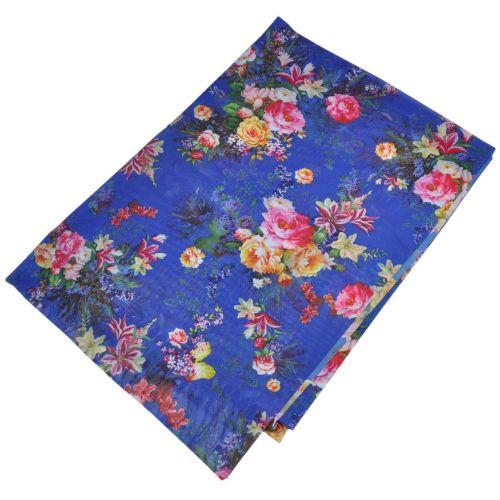 Женский шелковый шарф 017582 букет садовника синий