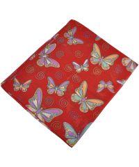 Женский шелковый шарф 017801 бабочки красный