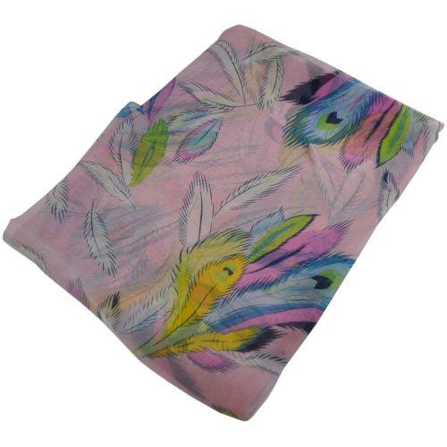 Шелковый шарф парео 29144 перья розовый