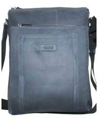 Мужская кожаная сумка Mк41Кr600 синяя