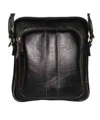 Мужская кожаная сумка Mk-48 Kаz1 чёрная