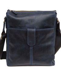 Мужская кожаная сумка MK18Kr600 синяя
