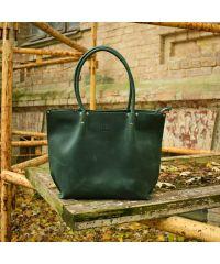 Женская кожаная сумка Babak Shopper Green 894077 зеленая
