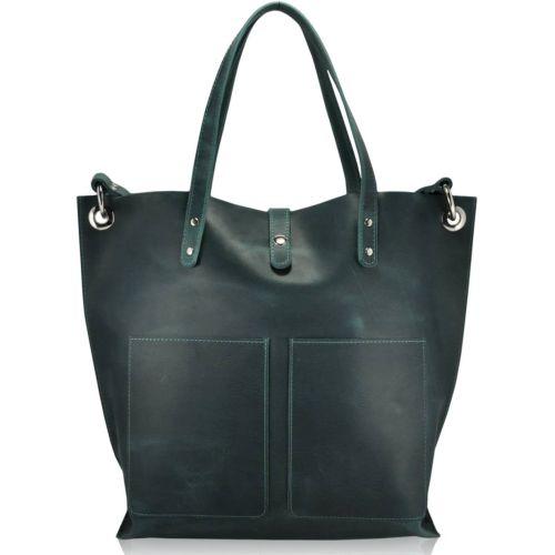 Женская кожаная сумка 857277 зеленая