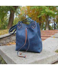 Женская кожаная сумка-мешок Babak Taita Blue 883062 синяя с рыжим