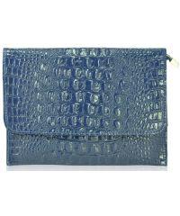 Кожаный клатч NO-925 синий