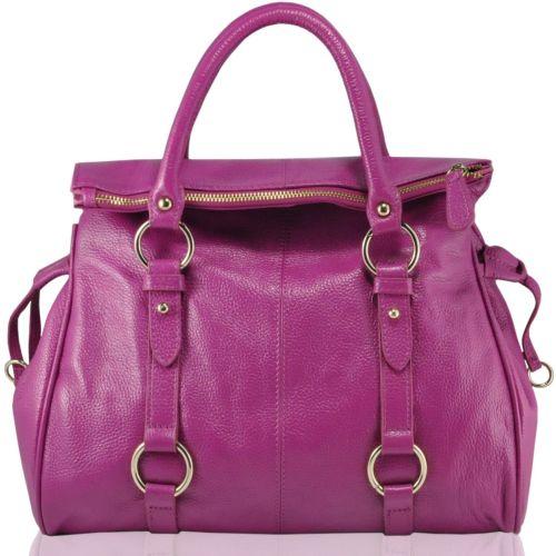 Кожаная сумка 1616 фуксия