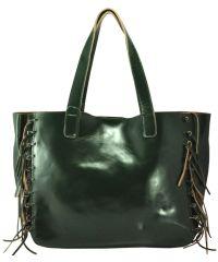 Кожаная сумка 1376 зеленая