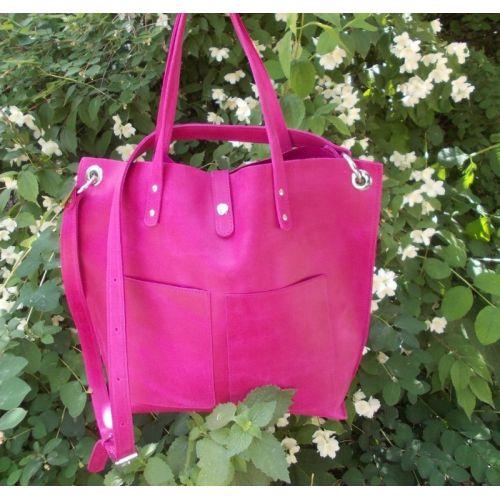Женская кожаная сумка Babak Tote 857281 фуксия