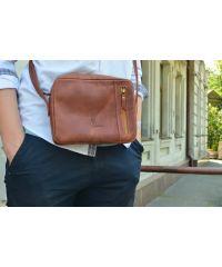 Кожаная сумка 541065 рыжая