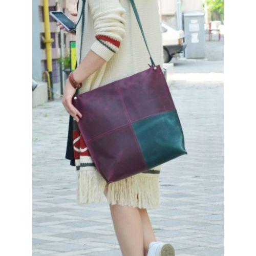 Женская кожаная сумка 888066/77 виноградная