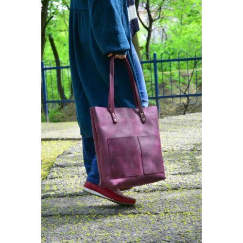 Женская кожаная сумка 882266 виноградная