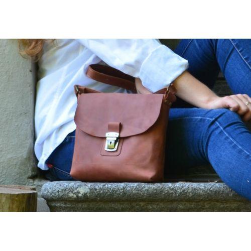 Кожаная сумка 886065 рыжая