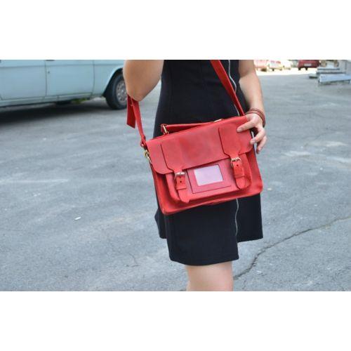 Женская кожаная сумка 889078 красная