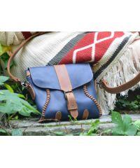 Женская кожаная сумка 890062 синяя
