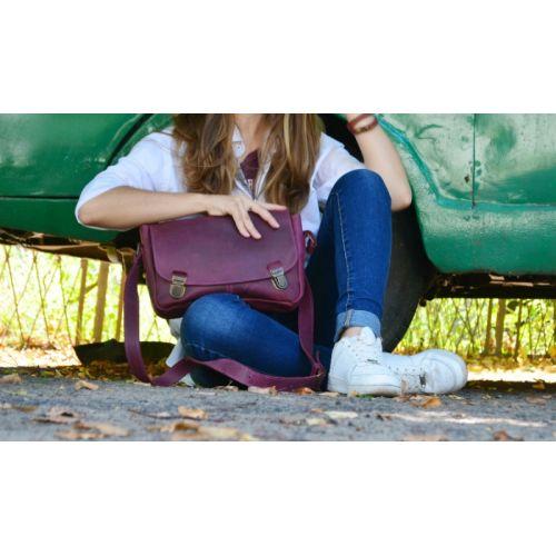 Кожаная сумка Babak 891066 виноградная