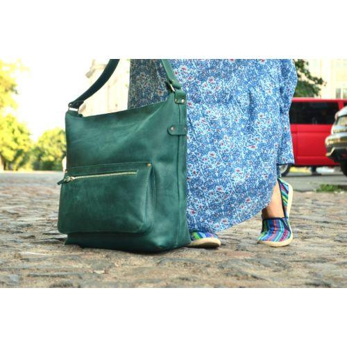 Кожаная сумка 887077 зеленая