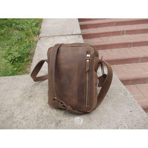 Мужская кожаная сумка Zipp коричневая