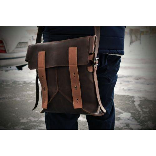 Мужская кожаная сумка Delta коричневая