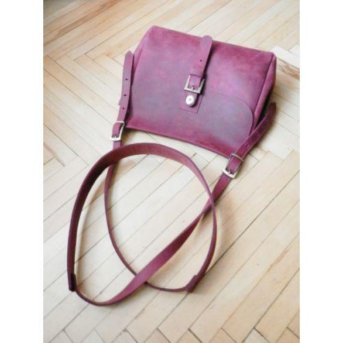 Женская кожаная сумка 859066 виноградная