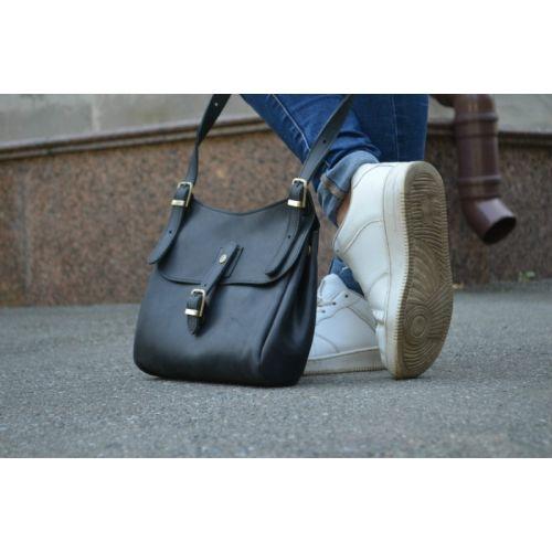Женская кожаная сумка 859076 черная