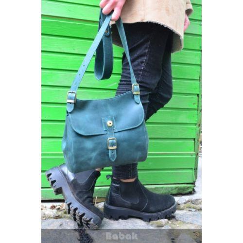 Женская кожаная сумка 859077 зеленая