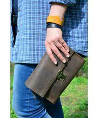 Кожаный клатч 870051 коричневый