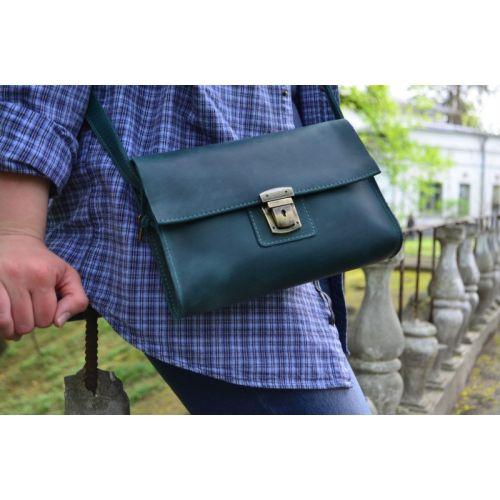Кожаный клатч 870077 зеленый