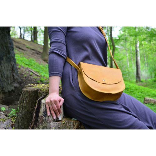 Женская кожаная сумка 874079 желтая