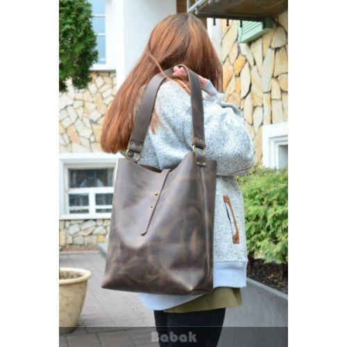 Женская кожаная сумка 876051 коричневая