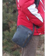 Мужская кожаная сумка Zipp черная