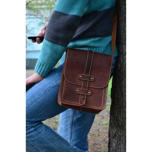 Мужская кожаная сумка Pin рыжая