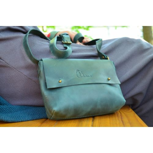 Женский кожаный клатч 877077 зеленый