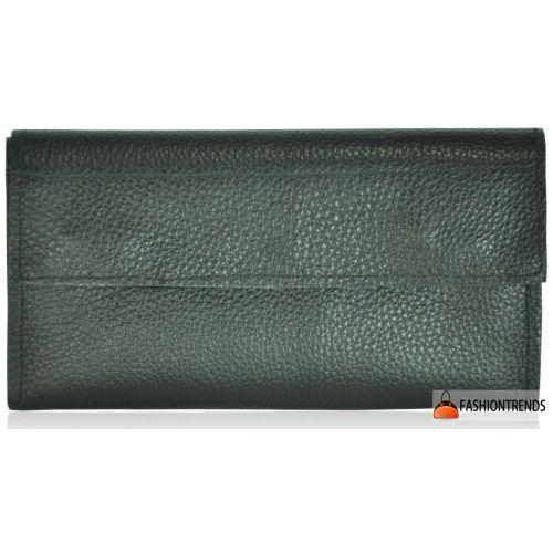 Кожаный клатч-кошелек fku-16 черный