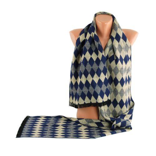 Мужской шарф TRAUM 2492-21 синий с бежевым