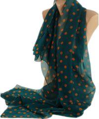 Шарф TRAUM 2495-07 зеленый в горошек