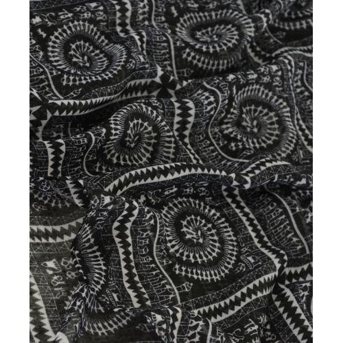 Шарф TRAUM 2495-90 черный с белым этно рисунком
