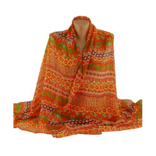 Шаль-парео TRAUM 2498-34 оранжевая с орнаментом