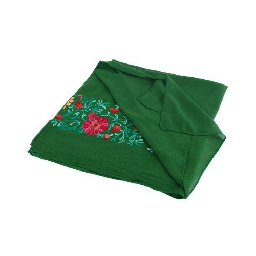 Шаль TRAUM 2494-71 зеленая с вышивкой цветов