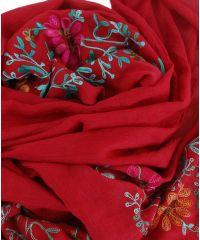 Шаль TRAUM 2494-73 красная с вышивкой