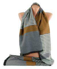 Мужской шарф TRAUM 2492-23 серый с коричневым