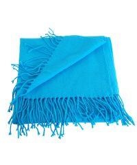 Шарф TRAUM 2493-44 голубой с бахромой